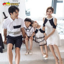 Parent child fashion Black and white dress A family of three neutral Strawberry pumpkin eighteen thousand and eighty-seven summer Korean version Thin money skirt L M S XL Cotton 100% Class B L XL XXL