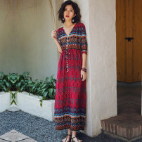 Dress Summer of 2019 Red, black S,M,L,XL,2XL,3XL longuette singleton  commute V-neck middle-waisted other Single breasted other other Others 25-29 years old Type H ethnic style Lace up, button cotton