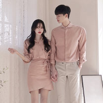 shirt Youth fashion Elk Female s female m male m male l male XL male XXL Black apricot pink pants routine Pointed collar (regular) Long sleeves standard Other leisure spring AL2020A08 lovers Polyester 100% Exquisite Korean style 2021 Solid color Spring 2021 No iron treatment cotton Decorative loop