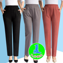 Casual pants Black, blue, white, dark rice, brick red, beige, coffee XL,2XL,3XL,4XL,5XL Summer 2020 Ninth pants Straight pants High waist commute Thin money 40-49 years old 91% (inclusive) - 95% (inclusive) Snow-2251 Other / other polyester fiber Simplicity pocket polyester fiber Asymmetry