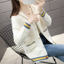 Wool knitwear Autumn of 2019 S M L XL Blue yellow black white Long sleeves singleton  Cardigan other More than 95% Regular routine commute easy Hood routine Color matching Single breasted JD12066 Bei Xueli Pocket screw button Other 100% Same model in shopping mall (sold online and offline)