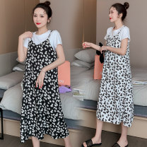Dress Masa nissa / masanisa White flowers, black flowers M L XL XXL Korean version Short sleeve Medium length summer Crew neck Decor Pure cotton (95% and above)
