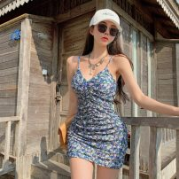 Dress Summer 2021 Picture color S, M Short skirt singleton  Sleeveless commute V-neck High waist Decor zipper One pace skirt camisole 18-24 years old Type H Korean version