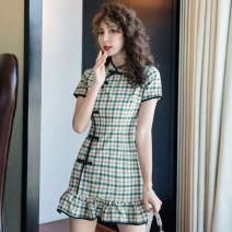 Dress Summer 2020 Green lattice S,M,L,XL Short skirt singleton  Short sleeve commute stand collar middle-waisted lattice zipper Ruffle Skirt routine Others 18-24 years old Type A Korean version Ruffles, zippers 31% (inclusive) - 50% (inclusive) other other