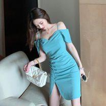 Dress Summer 2021 Bean green S,M,L Short skirt singleton  Short sleeve commute One word collar High waist Solid color zipper One pace skirt camisole 18-24 years old Type H Korean version Open back, fold, zipper