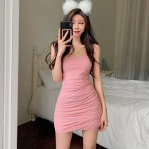 Dress Summer 2021 Black, pink S,M,L Short skirt singleton  Sleeveless commute One word collar middle-waisted Solid color Socket One pace skirt camisole 18-24 years old Type A Korean version Open back, fold 31% (inclusive) - 50% (inclusive)