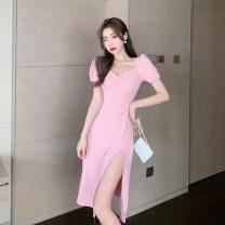 Dress Spring 2021 Pink S,M,L Short skirt singleton  Short sleeve commute square neck High waist Solid color Socket A-line skirt bishop sleeve Others 18-24 years old Type A Korean version
