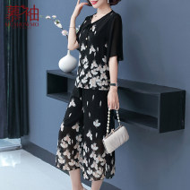Middle aged and old women's wear Summer 2021 White flower 1 2 XL [recommended weight within 100 kg] 2XL [recommended weight 100-115 kg] 3XL [recommended weight 115-130 kg] 4XL [recommended weight 130-145 kg] 5XL [recommended weight 145-155 kg] other sizes fashion suit easy Two piece set Decor Socket