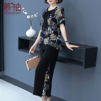 Middle aged and old women's wear Summer 2021 fashion suit easy Two piece set Decor 40-49 years old Socket thin Crew neck routine routine Mushowmo / musket polyester Polyester 100% 96% and above Pure e-commerce (online only)