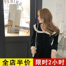 Dress Spring 2021 Black JH S M L XL 2XL 3XL 4XL Mid length dress singleton  Long sleeves commute other Solid color other routine 18-24 years old Eileen Korean version 12-21C5352-XX More than 95% polyester fiber Polyester 100% Pure e-commerce (online only)