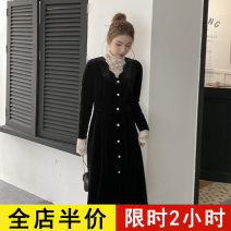 Dress Spring 2021 Black dress JH base coat + sling JH three piece set JH S M L XL 2XL 3XL 4XL Mid length dress Three piece set Long sleeves commute High collar Solid color routine 18-24 years old Eileen Korean version 12-21C5365-XX More than 95% polyester fiber Polyester 100%