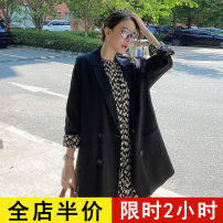 Women's large Spring 2021 Black suit one piece black dress one piece black suit S M L XL 2XL 3XL 4XL Dress Two piece set commute easy moderate Socket Long sleeves Dot solid Korean version Crew neck routine routine 8-16C5094+AX096 Eileen 18-24 years old pocket Medium length other
