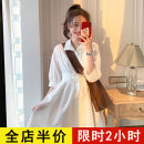 Women's large Spring 2021 white Dress singleton  Sweet easy moderate Socket Short sleeve Solid color square neck routine 8-11X1782-A Eileen 18-24 years old Bandage Short skirt Polyester 95% polyurethane elastic fiber (spandex) 5% Pure e-commerce (online only) other solar system