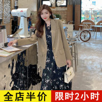 Women's large Spring 2021 Black dress [one piece] Dress singleton  commute easy moderate Socket Long sleeves Broken flowers Korean version other routine 9-3X2122 Eileen 18-24 years old longuette Polyester 100% Pure e-commerce (online only) other