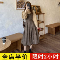 Dress Spring 2021 Suit JH S M L XL 2XL 3XL 4XL longuette Two piece set Long sleeves commute square neck High waist lattice Socket Pleated skirt routine straps 18-24 years old Eileen Korean version More than 95% polyester fiber Polyester 97% polyurethane elastic fiber (spandex) 3%