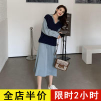 Dress Spring 2021 243 sweater KY 242 dress KY 243 sweater + 242 dress KY S M L XL 2XL 3XL 4XL longuette Two piece set Long sleeves commute square neck High waist Solid color Single breasted other routine 18-24 years old Eileen Korean version 10-21AC243+AC242 More than 95% polyester fiber