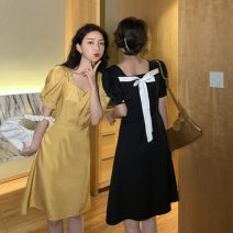 Dress Spring 2021 Yellow, black M, L Short skirt singleton  Short sleeve commute square neck High waist Solid color Socket A-line skirt other Others 18-24 years old Type A Korean version 31% (inclusive) - 50% (inclusive) other cotton