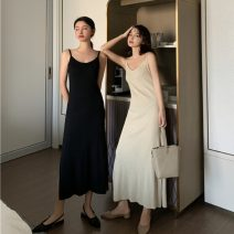 Dress Spring 2021 Apricot, black Average size Mid length dress singleton  Sleeveless commute V-neck High waist Solid color Socket A-line skirt other camisole 18-24 years old Type A Korean version 31% (inclusive) - 50% (inclusive) knitting other
