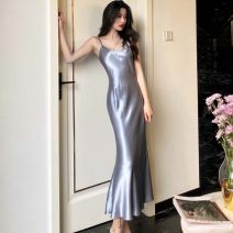Dress Summer of 2019 Black, watermelon red, champagne, grey blue S,M,L longuette singleton  Sleeveless commute V-neck Solid color Socket other other camisole 18-24 years old Korean version 31% (inclusive) - 50% (inclusive)
