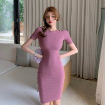 Dress Spring 2021 Apricot, purple, red, blue, lake green Average size Middle-skirt singleton  Short sleeve commute Crew neck Solid color Socket other other Others 18-24 years old Korean version 31% (inclusive) - 50% (inclusive) cotton