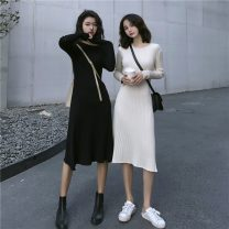 Dress Spring 2021 Apricot, black Average size Mid length dress singleton  Long sleeves commute Crew neck High waist Solid color Socket A-line skirt routine Others 18-24 years old Type A Korean version 31% (inclusive) - 50% (inclusive) knitting other