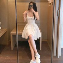 Dress Spring 2021 white S. M, average size Short skirt singleton  Sleeveless commute V-neck High waist Solid color Socket A-line skirt routine camisole 18-24 years old Type A Korean version zipper 31% (inclusive) - 50% (inclusive) polyester fiber