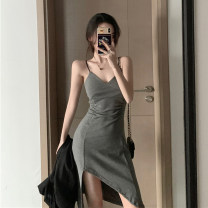 Dress Spring 2020 Gray, black Average size Miniskirt singleton  Sleeveless commute V-neck High waist Solid color Socket other other camisole 18-24 years old Korean version 31% (inclusive) - 50% (inclusive)