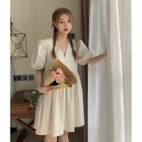 Dress Spring 2021 Apricot Average size longuette singleton  Long sleeves commute Crew neck High waist Solid color Socket A-line skirt routine Others 18-24 years old Type A Korean version printing 31% (inclusive) - 50% (inclusive) Chiffon cotton