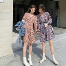 Dress Spring 2021 Blue, yellow M, L Short skirt singleton  Long sleeves commute V-neck High waist Broken flowers Socket A-line skirt other Others 18-24 years old Type A Korean version 31% (inclusive) - 50% (inclusive) other polyester fiber