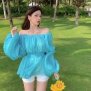 Lace / Chiffon Summer 2021 Lake blue Average size Long sleeves commute Socket singleton  Self cultivation Super short One word collar Solid color bishop sleeve 18-24 years old Korean version 31% (inclusive) - 50% (inclusive) polyester fiber