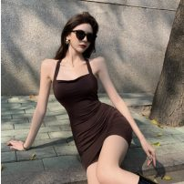 Dress Summer 2021 khaki S, M Short skirt singleton  commute other Solid color Socket other other Hanging neck style 18-24 years old Type A Other / other Korean version 31% (inclusive) - 50% (inclusive)