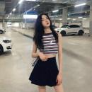skirt Summer of 2018 Average size Vest, skirt Short skirt commute High waist Pleated skirt Solid color 18-24 years old Button Korean version