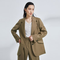 short coat Summer 2021 S M L Solid Brown Long sleeves routine routine singleton  Straight cylinder commute tailored collar Single breasted Solid color 30-34 years old OTT 71% (inclusive) - 80% (inclusive) Button OD1300721 polyester fiber polyester fiber