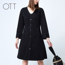 Dress Autumn of 2019 Cb01 black S M L XL Mid length dress singleton  Long sleeves commute V-neck One pace skirt other 30-34 years old OTT Simplicity OS1950210102 More than 95% cotton Cotton 100% Same model in shopping mall (sold online and offline)
