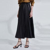 skirt Spring 2021 M L Solid black Mid length dress commute Natural waist A-line skirt other Type A 30-34 years old OD1101710 More than 95% OTT polyester fiber Simplicity Polyester 100%