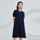 Dress Summer 2021 Solid dark blue S M L XL Mid length dress singleton  Short sleeve commute Crew neck Loose waist other Socket A-line skirt routine 30-34 years old Type A OTT Simplicity OD1301877 More than 95% cotton Cotton 100%