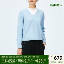 Wool knitwear Spring 2020 36 38 40 CH06 light water blue Long sleeves singleton  Socket other 31% (inclusive) - 50% (inclusive) Regular routine commute Straight cylinder V-neck routine Solid color Socket Simplicity OR1930030104 30-34 years old OTT Polyester 44% others 56%