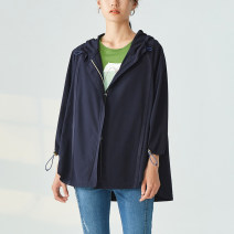 Windbreaker Autumn 2020 36 38 40 42 three quarter sleeve routine Medium length commute zipper Hood routine Solid color Straight cylinder Simplicity OTT 30-34 years old printing 81% (inclusive) - 90% (inclusive) polyester fiber polyester fiber