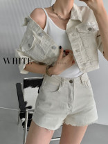 Jeans Spring 2021 Apricot S,M,L shorts Natural waist Wide legged trousers routine 18-24 years old Wash, zipper, button, multi pocket Thin denim light colour Other / other 31% (inclusive) - 50% (inclusive)