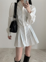 Dress Spring 2021 White, black Average size Short skirt singleton  Long sleeves commute Polo collar High waist Solid color Single breasted A-line skirt routine 18-24 years old Type A Korean version Pleats, buttons