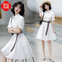 Dress Summer 2021 S M L XL Mid length dress singleton  Short sleeve commute Polo collar High waist Solid color Three buttons A-line skirt routine 30-34 years old Type A La'terraneo / talineo 51% (inclusive) - 70% (inclusive) cotton