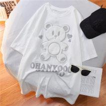 T-shirt White, pink M,L,XL Summer 2021 Short sleeve Crew neck easy Regular routine commute cotton 30% and below 18-24 years old Korean version originality Cartoon animation
