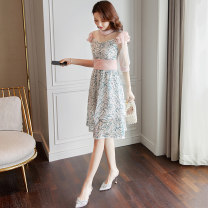 Dress Summer 2020 Picture color S M L XL Mid length dress singleton  elbow sleeve commute Crew neck middle-waisted Broken flowers A-line skirt routine 25-29 years old Type A Jieyang lady Mesh zipper lace More than 95% Lace other Other 100% Pure e-commerce (online only)