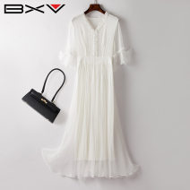 Dress Summer 2021 white S M L XL Mid length dress singleton  Short sleeve street V-neck High waist Solid color Socket Lotus leaf sleeve 30-34 years old bxv 21BBAO2109P More than 95% silk Mulberry silk 100% Europe and America