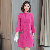 Dress Spring of 2019 Blue rose M L XL 2XL 3XL Mid length dress singleton  Long sleeves commute stand collar middle-waisted Solid color Single breasted A-line skirt routine 25-29 years old Type A Purple bell dancing Retro Three dimensional decorative buttons for embroidered pockets ZQ19W3962