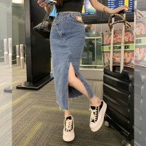 skirt Summer 2021 High waist commute Medium length skirt Denim skirt Solid color Type X More than 95% cotton Denim YM21051121 Sister Xiaoyu Korean version S,M,L Black, denim, black (5-7 days), denim (5-7 days)