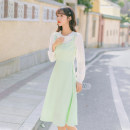 Dress Spring 2021 Fresh green collection add order send hairpin XS S M L Mid length dress singleton  Long sleeves commute Doll Collar High waist Solid color Socket A-line skirt shirt sleeve Others 18-24 years old Type A Freire lady Splicing FCL13000 More than 95% polyester fiber