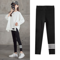 trousers Jiali cat female 110cm 120cm 130cm 140cm 150cm 160cm Black light grey dark grey spring and autumn trousers Korean version There are models in the real shooting Leggings Leather belt middle-waisted cotton Don't open the crotch Cotton 95% polyurethane elastic fiber (spandex) 5% Class B