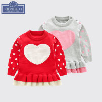 Dress female Cotton 82% polyamide 18% spring and autumn Europe and America Long sleeves other cotton Lotus leaf edge Class A Autumn of 2018 3 months 12 months 6 months 9 months 18 months 2 years old