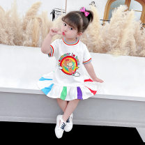 Dress white female McDonnell 80cm 90cm 100cm 110cm 120cm 130cm Other 100% summer Korean version Short sleeve Cartoon characters other other MDD-456485 Class A Summer 2021 12 months, 18 months, 2 years old, 3 years old, 4 years old, 5 years old, 6 years old and 7 years old Chinese Mainland